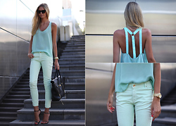 Jessica Stein - Dion Lee Shirt, Zara Mint Pants, Ellery Cremaster Sunglasses, Michael Kors Sports Watch - Spearmint