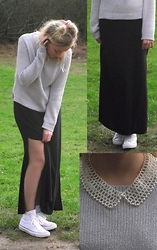 Holly Boxall - H&M Sparkly Jumper, River Island Slit Maxi Skirt, Converse White Trainers, Topshop Pearl Peter Pan Collar - Pearls ...