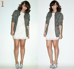 Delmy Rivera - H&M Utility Jacket, Zara Lace, Alexander Wang Metallic Pumps - Spring Dream