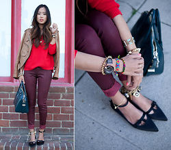 Aimee Song - Rachel Roy Sweater, Givenchy Antigona Bag, Friends And Myself Friendship Bracelets, Anarchy Street Bracelet, Cc Skye Spike Bracelet, Swarovski Octea Watch, David Kahn Red Faux Leather Pants - Red Sweater, Red Pants, Behind a Red Brick Wall