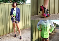 Sarah Zed - Diy Hand Painted Mens Shirt, Sync Colour Block Lace Up Heels, Bluejuice Floral Shorts, Sportsgirl Perspex Necklace - DIY painted shirt