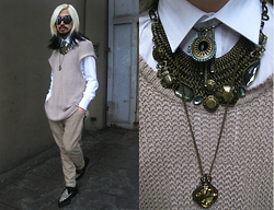 Andre Judd - Beige Dropcrotch Trousers, Leopard Creepers, Brass Neckpiece With Crystals And Beetle Accents, Brass Tambourine Pendant With Crystals, Brass And Citrine Crystal Pendant, Knit Ovoid Top, Protacio Button Down Shirt, Black Ombre Tip Hair - ♡ RADIOACTIVE ♡ | MARINA AND THE DIAMONDS