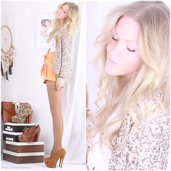Anna Wiklund - Sequin Blazer, Mango Colored Shorts, Super High Ankle Boots, Today I'm Wearing This Top - COLOR OF LOVE