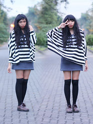 Yunita Elisabeth - Garage Sale Stripes Loose Top, Refashioned Dress, Diy Knee High Socks, 2ndhand Shoes - Friday the 13th
