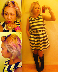 Chubby Bunny Michelle - Asos Striped Backless Dress, Purple Suede Wedge Boots, Blam! Ring - Black and White and BLAM all over.