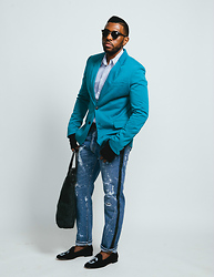 "RICH CAINE - Zara Turquoise Blazer, Levi's® Distressed Tuxedo Jean, ""The Ambitious Kool"" X Del Toro ""Custom Fit"" Slipper, Charles 1/2 Striped Tailored Fit Oxford, Forever 21 Weekender - X'O"