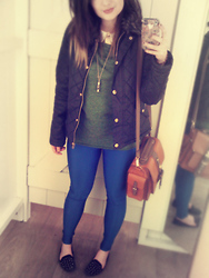 Jo (lespoirdemavie) Fashion blogger. - Topshop Scallop Blouse, Ark Olive Oversized Top, Ark Blue Lycra Leggings, New Look Faux Fur Quilted Jacket - Spring Palette