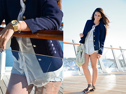 Eugy Alliegro - Goodwill Sailor Jacket, Marc By Jacobs Gold Watch - Out at Sea