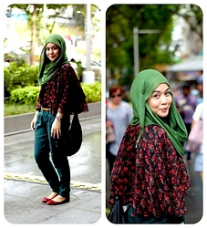 Dalillah Ismail - Thrifted Cape, New Look Green Pants, New Look Red Pumps - Frilly, florally & flowy cape