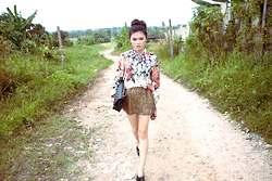 Melody Tan - Zara Floral Shirt, Topshop Loafers, Zara Skirt, Chanel 2.55 - Flower girl