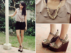 Sophie Ramos - Primadonna Grey Wedges, The Berries Black Shorts, The Berries Top, Mapleberry Necklace - Taupe