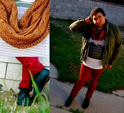 Eman Romero - Rubi Gold Infiniti Scarf, Urban Outfitters Leather Oxfords, Tvhm Skinny Jeans (Wine), Forever 21 Graphic Shirt, H&M Jacket - Wilderness & freedom