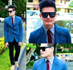 E. T. - Zara Blue Blazer, Muji Gray Dress Shirt, Uniqlo Maroon Honeycomb Necktie, Zara Black Trousers, Maneeslip, Bangkok Beige Suede Brogues, Sunglasses - Dont Change Your Mind About Me