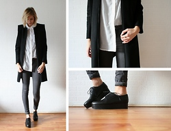 Sietske L - Cos Coat, H&M Sheered Shirt, Cos Ring, Topshop Grey Jeans, Cos Shoes - Chic creepers.