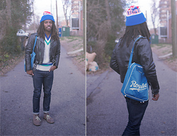 Zachary Gray - Thrift Store Usa Knit Cap, Vintage Biker Jacket, A.P.C. Apc New Cures, Clark's, Thrift Store Royal's Bag, Lacoste Jumper - Natural Blues