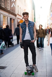 Oscar Spendrup - Converse Shoes, Clock, Denim Vest, Shirt, Necklace, Belt, Gloves, Jeans - Street Style Part II