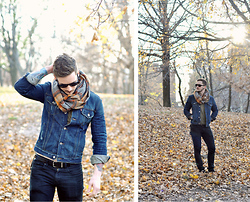 Bobby Hicks - David Yurman Sunglasses, Levi's® Denim Jacket, Zara Plaid Scarf - Remember me?