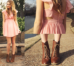 Madeline Becker - Nasty Gal Blush Chiffon Dress, Brown Lace Up Boot Heels - Take me to spring