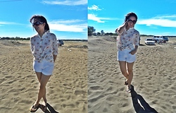 "Spelled as ""G""essica Caser - Floral Long Sleeves, Everything Pink White Shorts, Oversized Sunglasses - Sand+sun equals summer air"