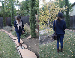 M. Satsuki - Oversized Navy Blue Cardigan, Forever 21 Jeggings, H&M Brown Combat Boots, Forever 21 Brown Satchel - January 16th