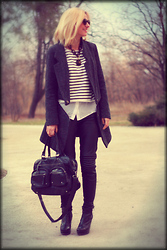 Dana Rogoz - Zara Bag, H&M Leather Pants, Asos Booties, Lanvin Sunglasses, Zara Coat, Mango Necklace, Zara Top, H&M Shirt - Stripes for All Seasons