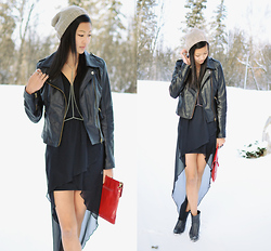 Alyssa Lau - Sheinside Soft Black Leather Jacket, Beginning Boutique Body Chain, Love Black Chiffon Cross Body Maxi Dress, Crow's Nest Knits Hand Made Knit Tuque, Jeffrey Campbell Ankle Booties - In love with chiffon, leather, and chains // LOVE GIVEAWAY