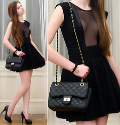Ariadna M. - H&M Gold Earrings, Black Bag, American Apparel Black Bodysuit, H&M Black High Waisted Skirt, Embis Black Heels, Accessorize Black Leather Bow Watch - Cherish the fashion