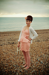 Kerry Lockwood - Johnny Loves Rosie Floral Net Fascinator, H&M Cream Cardigan, Ebay Pink & Cream Candy Strip Peplum Dress, Topshop Blush Pink Tights, Ebay Gold Dancing Heels, Absolute Vintage Cream Crochet Box Bag - I Want Candy!