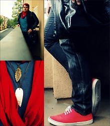 Eman Romero - Forever 21 Red Canvas Sneakers, Bdg Sun Bleach Skinny's, Forever 21 Leather Handbag, On The Byas Nautical Pin Stripe Shirt, Forever 21 Charcoal/Black Leather Letterman's, Forever 21 Leaf Necklace - Nautical Gloom.