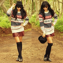 Riski Novianti - H&M Fedora, Unbranded Brown Eyeglasses, Rancha Knitted Jumper, Diy Scallop Skirt - Nature is the art of God