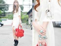 Camille Co - Korean Rose Shirt Dress, Butingtings Bracelet, Mia Casa Silver Bangles, Call It Spring Boots, Butingtings Rings - White Out
