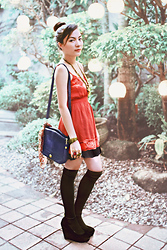 Kennette Esta - Asian Vogue Black Mary Jane Wedge, Vintage Blue Sling Bag, Forever 21 Red Dress, Forever 21 Gold Necklace, Kultura Gold Cuff, Red Ring, Scorpio Ring - At a Red Wedding