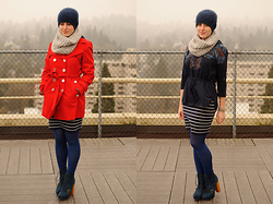Stacey L - Calvin Klein Red Trench Coat, Forever 21 Blue Striped Skirt, Steve Madden Blue Boots, Self Made Gray Infinity Scarf, Anthropologie Blue Sweatshirt - Red and stripes