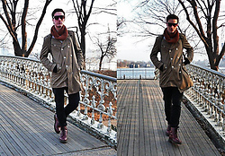 Tim Roddy - Nyc Snood, H&M Trenchcoat, B&B Jeans, Dr. Martens Boots, H&M Gloves, 80's Purple Glasses - Opportunity At Dawn