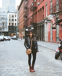 Alyssa J. - Topshop Bow Headband, Topshop Motorcycle Jacket, Sheer Button Up Blouse, Silence + Noise Jegging, Dr. Martens Doc - SoHo, NYC