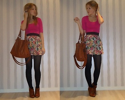 Tiina O - Gina Tricot Shirt, Gina Tricot Skirt, Pieces Bag, Zara Booties - A girly side