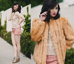 Chesley Tolentino - Crochet Top, Fur Coat, Lucky Brand Booties - Fur, Crochet, & Lace..