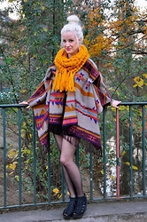 Charlie M. - H&M Scarf, H&M Aztec Poncho, Vagabond Wedges - Put on your best shoes, we're gonna take a run