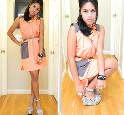 Desiree Atienza - Tinley Road Wedges, Forever 21 Gold Necklace, Cavi Coral Dress, Trifted Belt, Bcbg Gold Star Fish Ring, Trifted Bangle, Nordstrom Flower Ring - The color of this dress...