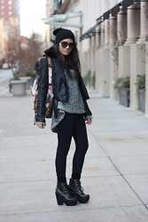 Alyssa J. - Ex Bf Beanie, Thrifted In Brooklyn Circle Sunnies, Topshop Motorcycle Jacket, Urban Outfitters Watercolor Knapsack, Asymmetrical Chunky Knit Sweater, Jeffrey Campbell Wedge Tardy Laceups - Chunky sweater, chunky boots