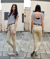 Emma Erixon - H&M Backless Tshirt, Braided Belt, Beige Pants - SAIL AWAY SAIL AWAY SAIL AWAY