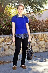 Lauren Peacher - Anthropologie Sweater, Thrifted Blouse, Zara Jeans, All Saints Bag - Back to School