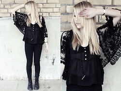 Frida G - Bikbok Transparent Tank Top, Bikbok Black Crochet Cardigan, Doctor Martens Docs - Black crochet