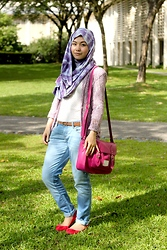 Dalillah Ismail - Ruby Red Pumps, River Island Lace Blazer, Sahara Shawl Tie Dye Scarf, Uniqlo Polka Dot T Shirt, Zara Leather Belt, Forever 21 Boyfriend Jeans, Typo Pink Satchel - A tint of pastel