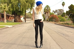Amber Saylor - Unif Strong Shoulder Top, H&M Mid Rise Pant, Leather Booties, Marc By Jacobs Watch - Black & Blue All Over You