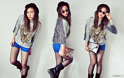Cindy Ashes - Grey Furry Jumper, Dr. Martens Black Boots - ! Lion Cin Cin !