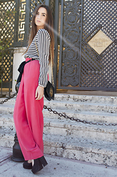 Simonett Pereira - Forever 21 Striped Dress, Goodwill Pink Silk Pants, Forever 21 Maryjanes, Tory Burch Clutch - Pocket Full of Secrets