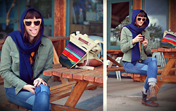 Kelly Lauren - House Of Harlow Chelsea Sunglasses, Vintage Hat/Scarf, Gap Army Jacket, Levi's® Patch Denim - Meow