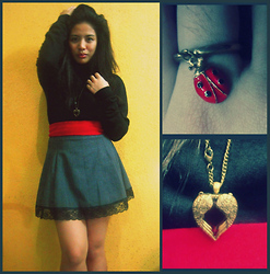 Al Jane Chua - Laced Skirt, Black Sweater, Lady Bug Ring, Winged Red Heart - Lady Bug w/ a Winged Heart