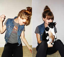 Sarah Hawkinson - Goodwill Diy Denim Vest, Hot Topic Queen Tee, Forever 21 Black Skinnies, Pepe - Queen.